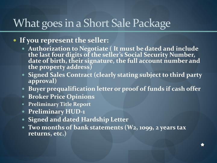 What goes in a Short Sale Package