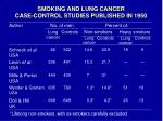 smoking and lung cancer case control studies published in 1950