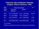 tobacco and coronary disease english willius berkson 1940