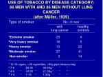 use of tobacco by disease category 86 men with and 86 men without lung cancer after m ller 1939