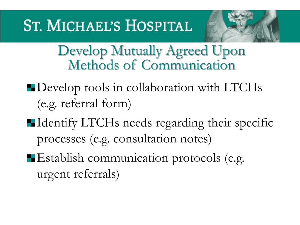 Develop tools in collaboration with LTCHs (e.g. referral form)