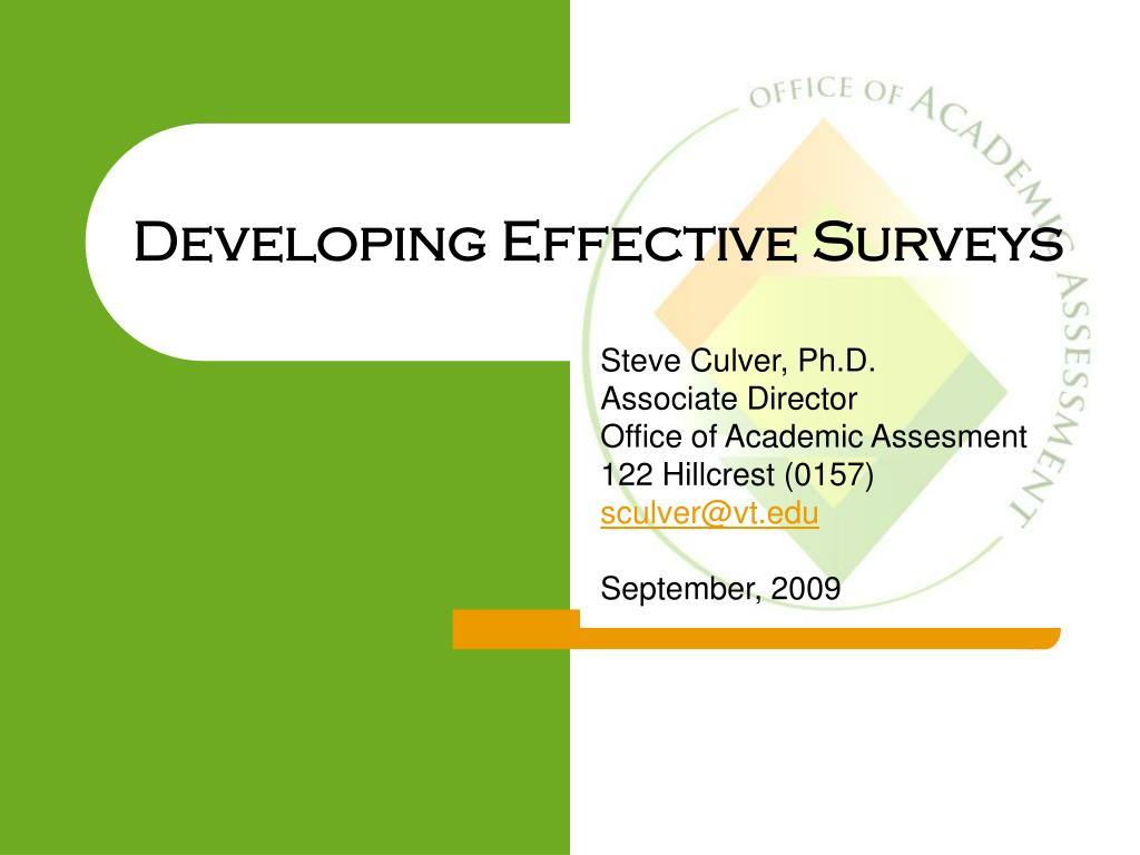 developing effective surveys l.