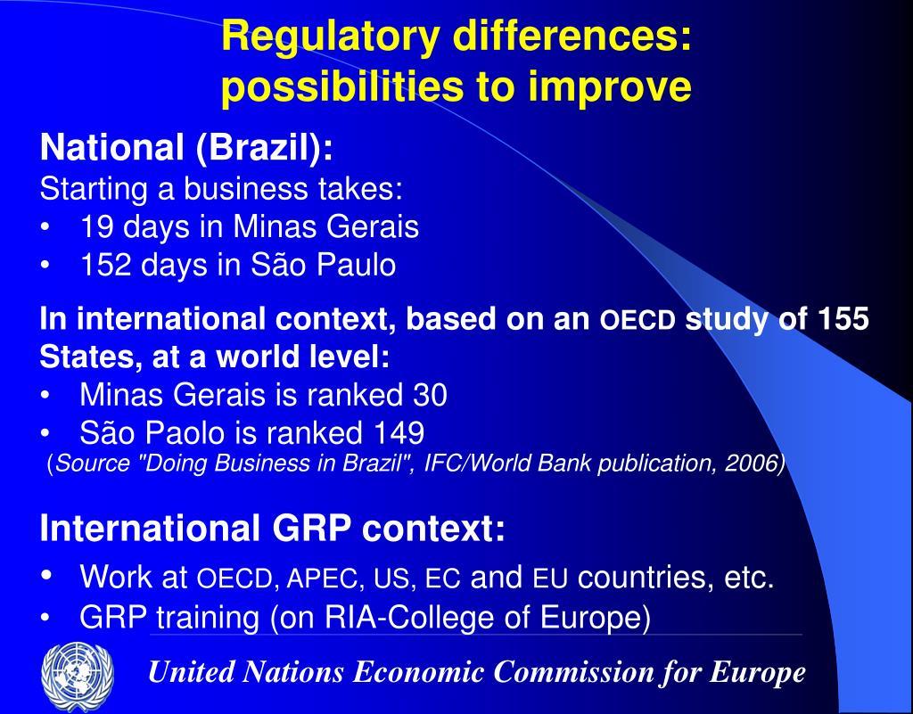 Regulatory differences: