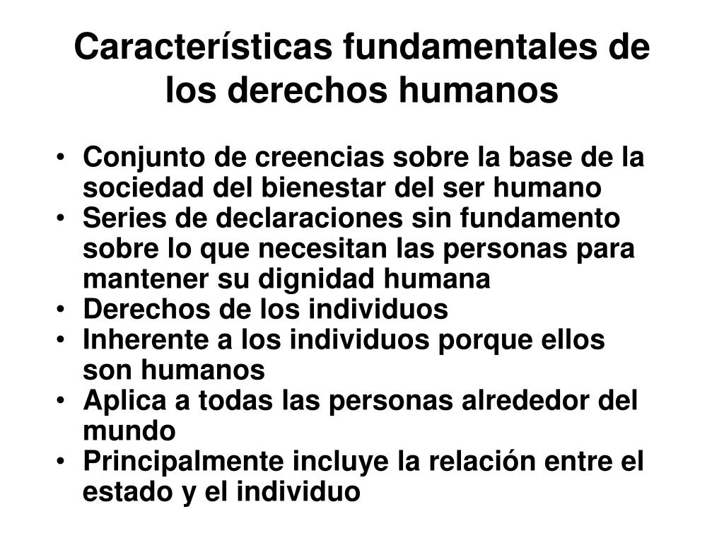 Características fundamentales de los derechos humanos