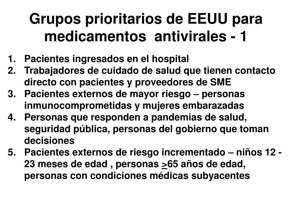 Grupos prioritarios de EEUU para medicamentos  antivirales - 1