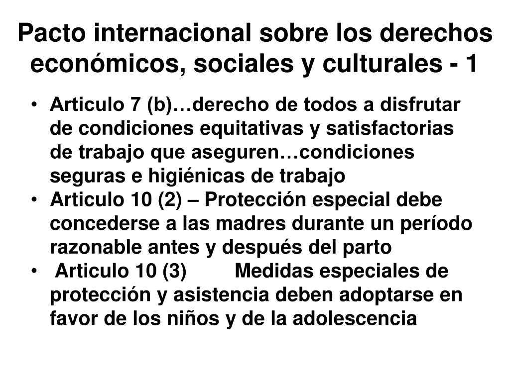 Pacto internacional sobre los derechos económicos, sociales y culturales