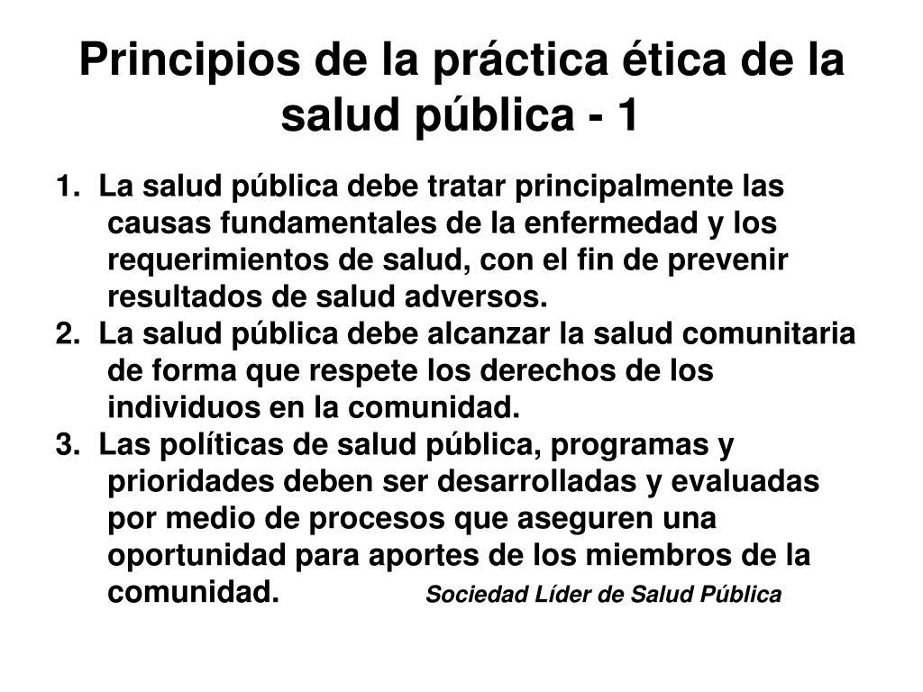 Principios de la práctica ética de la salud pública - 1