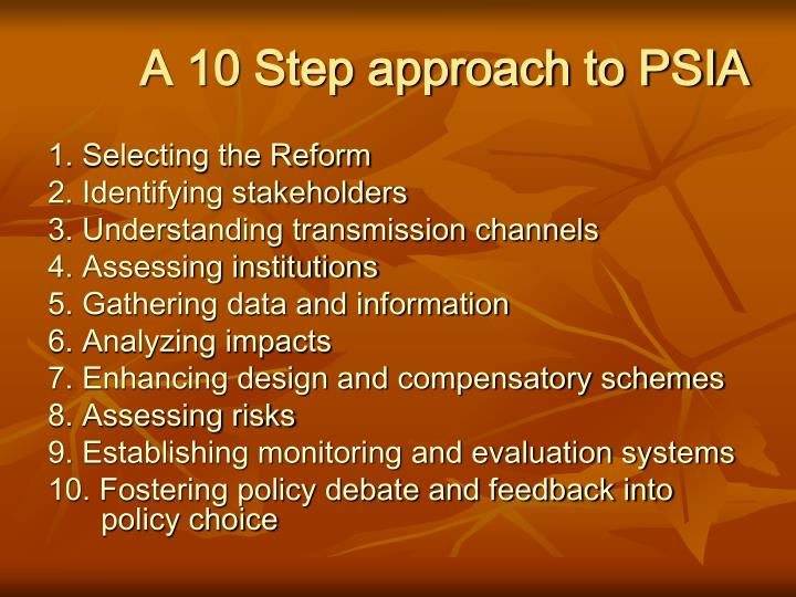 A 10 Step approach to PSIA