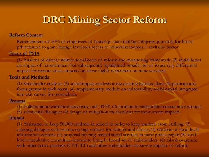 DRC Mining Sector Reform