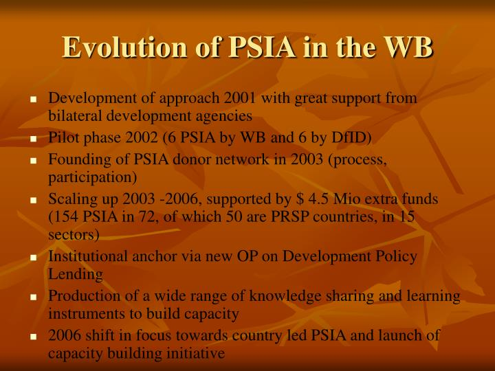 Evolution of PSIA in the WB