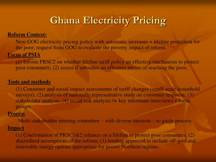 Ghana Electricity Pricing