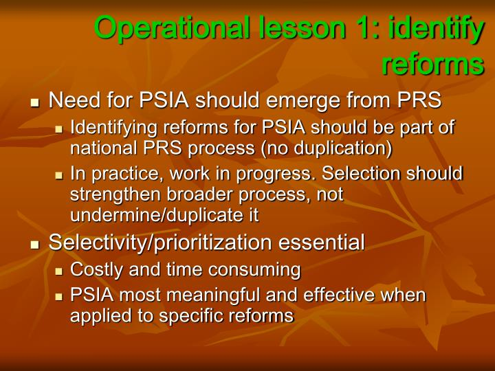 Operational lesson 1: identify reforms