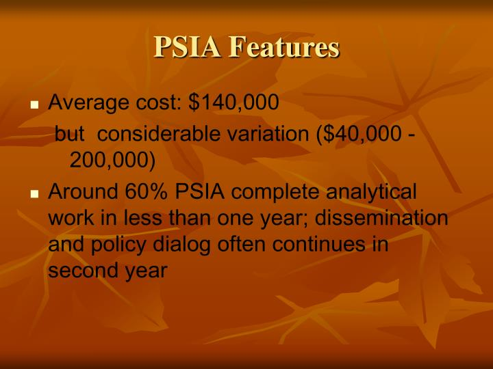 PSIA Features