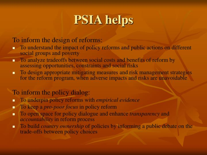 PSIA helps