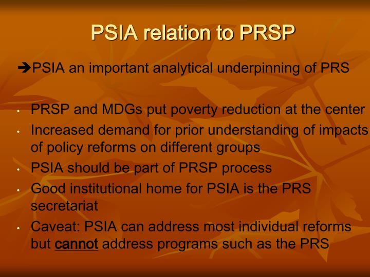 PSIA relation to PRSP