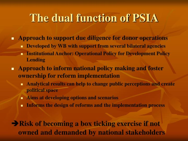 The dual function of PSIA