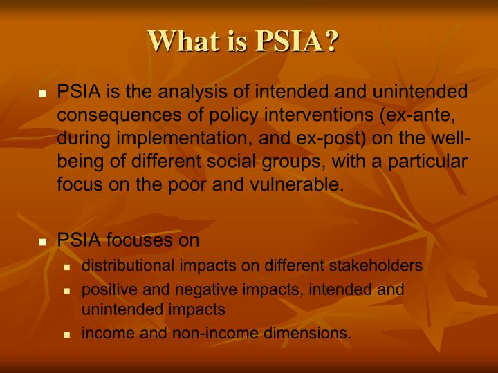 What is PSIA?