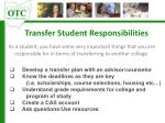 transfer student responsibilities