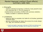 mantel haenszel method fixed effects summary odds ratio56