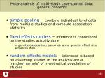 meta analysis of multi study case control data general concepts