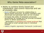 why genie meta association