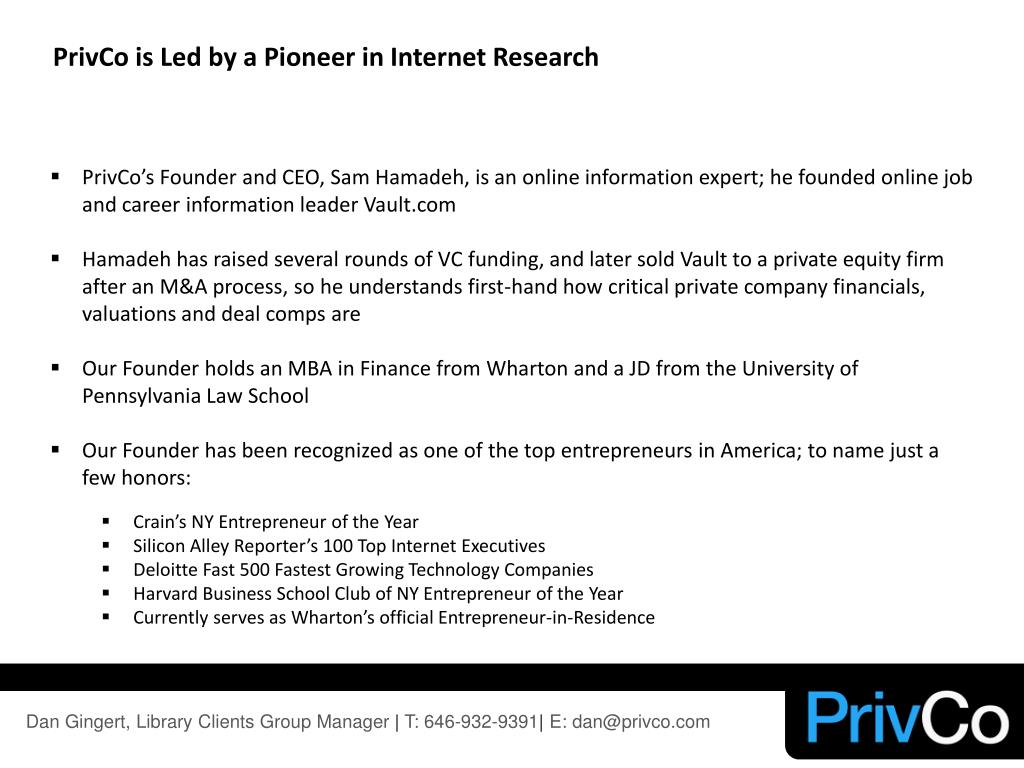 PrivCo is Led by a Pioneer in Internet Research