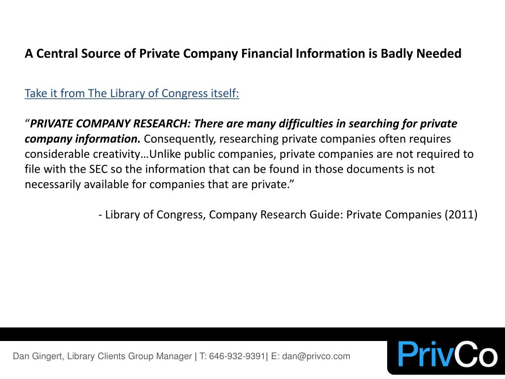 A Central Source of Private Company Financial Information is Badly Needed