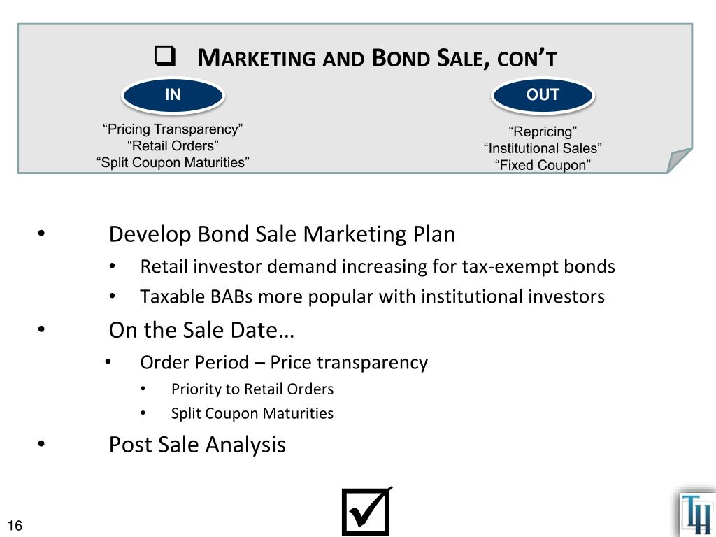 Marketing and Bond Sale,