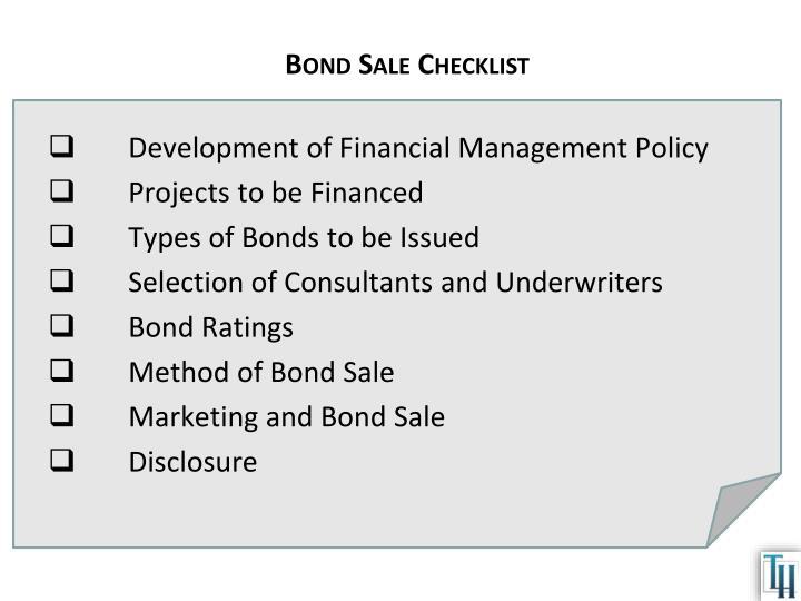 Bond Sale Checklist