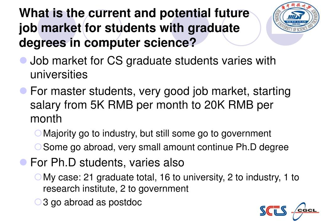 What is the current and potential future job market for students with graduate degrees in computer science?