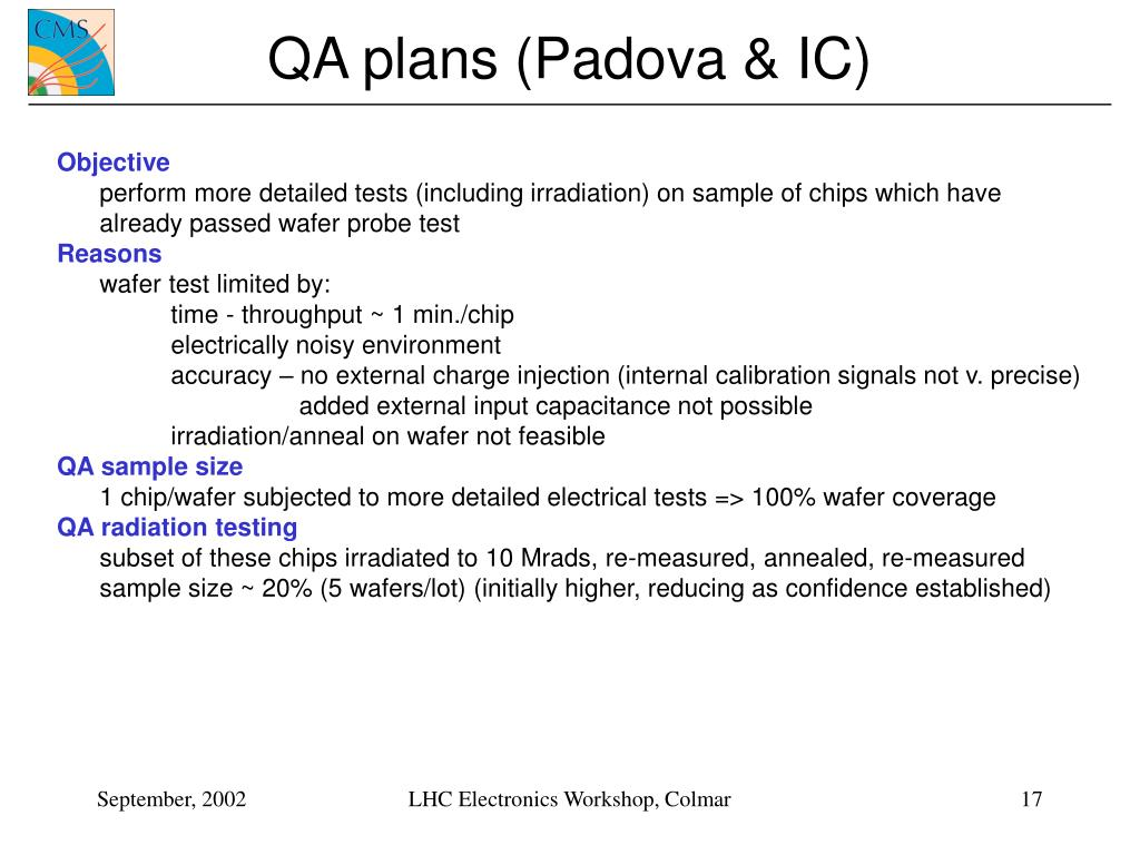 QA plans (Padova & IC)