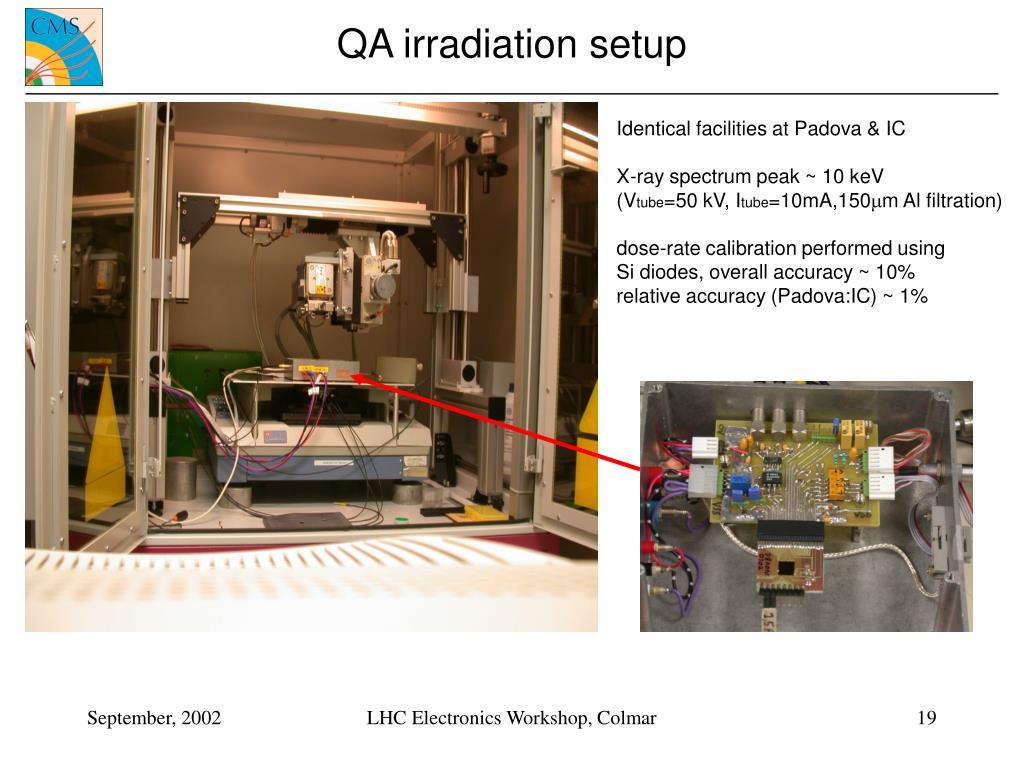 QA irradiation setup