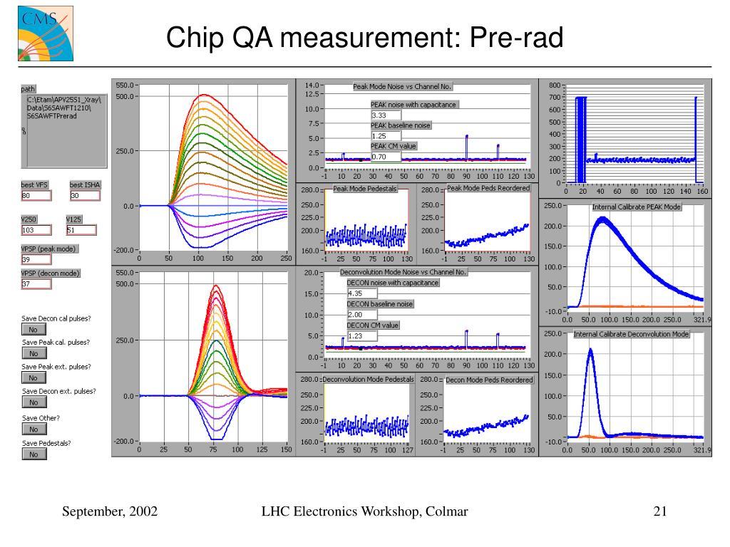 Chip QA measurement: Pre-rad