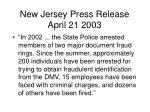 new jersey press release april 21 2003