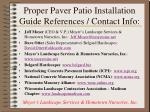 proper paver patio installation guide references contact info