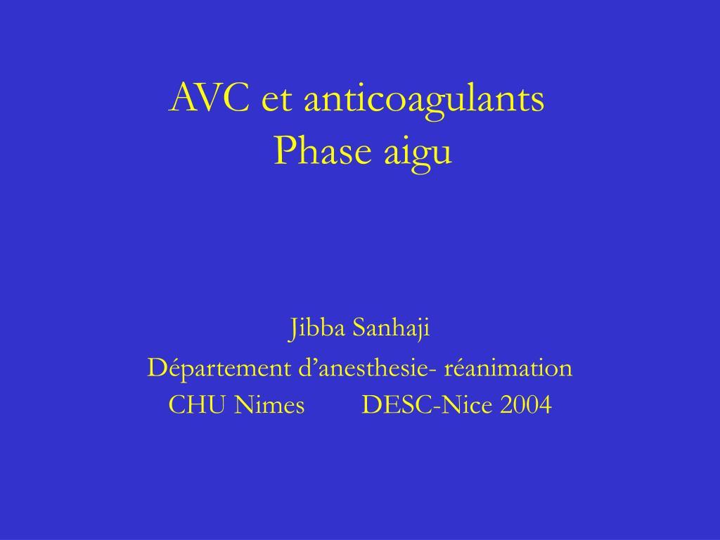 AVC et anticoagulants