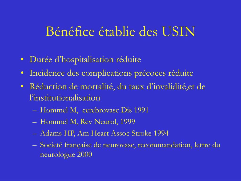Bénéfice établie des USIN