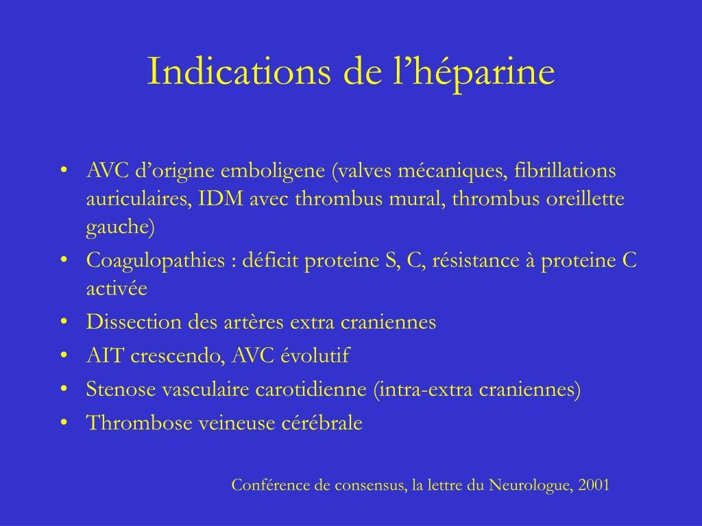 Indications de l'héparine