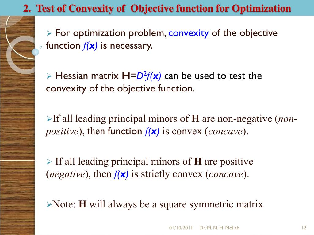 2.  Test of Convexity of  Objective function for Optimization