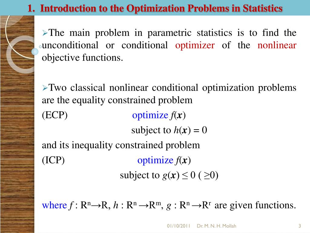 1.  Introduction to the Optimization Problems in Statistics