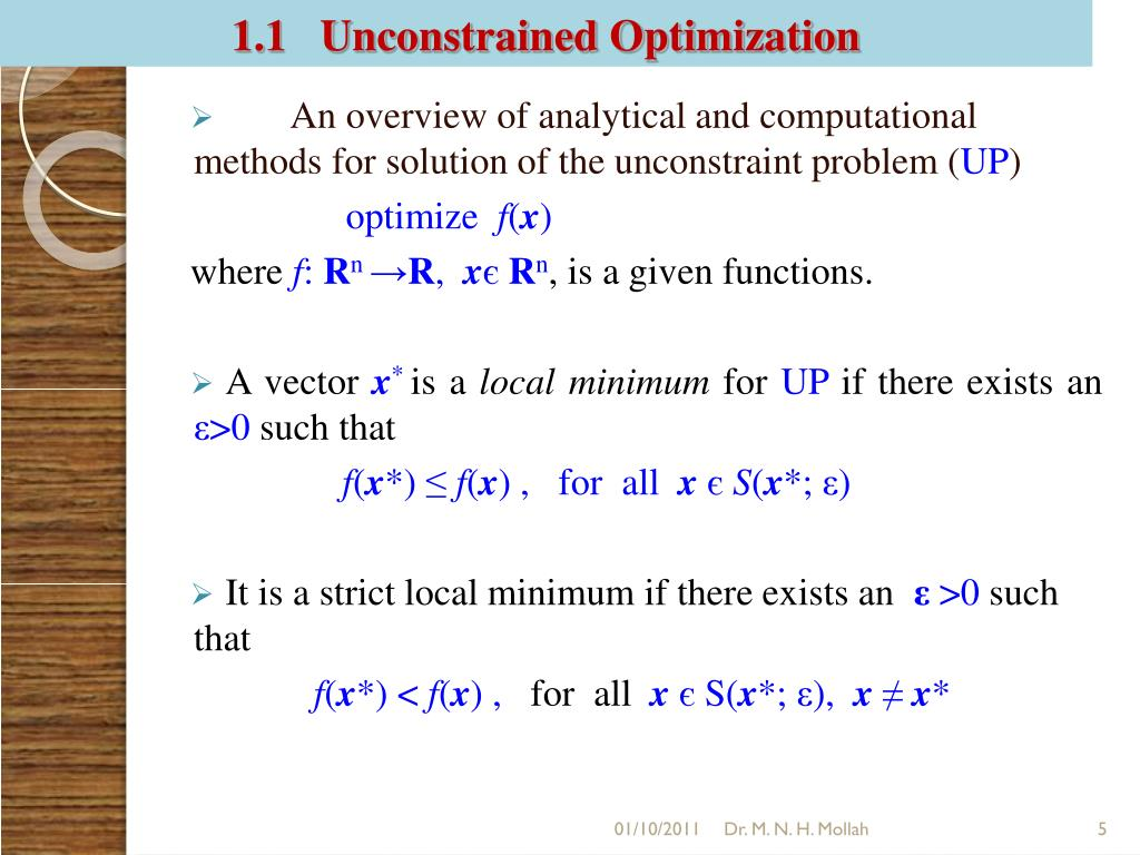 1.1   Unconstrained Optimization