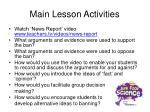 main lesson activities