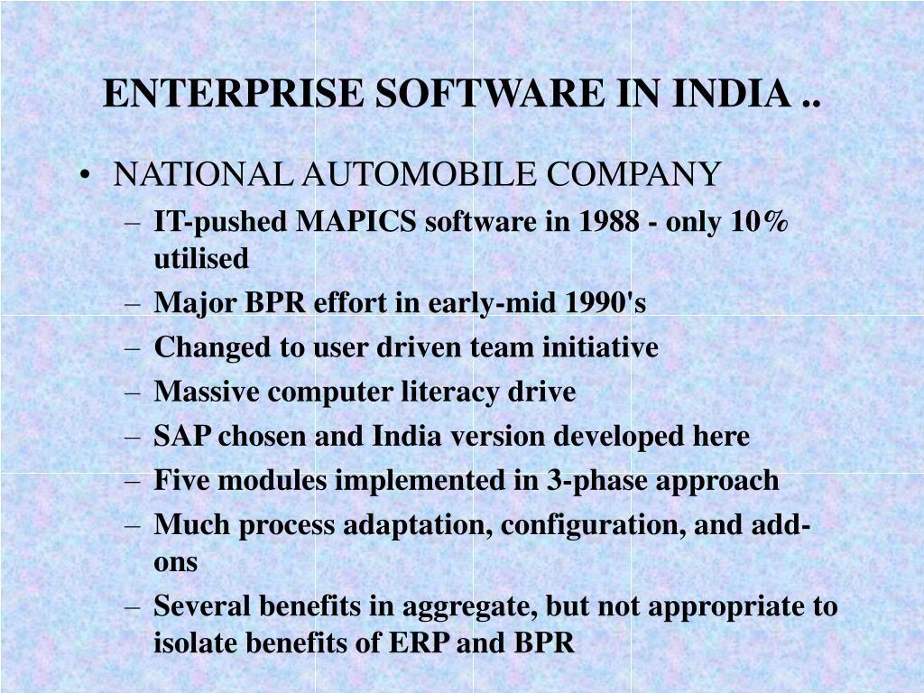 ENTERPRISE SOFTWARE IN INDIA ..