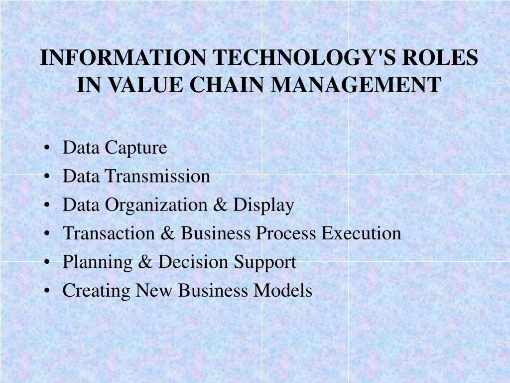 INFORMATION TECHNOLOGY'S ROLES IN VALUE CHAIN MANAGEMENT