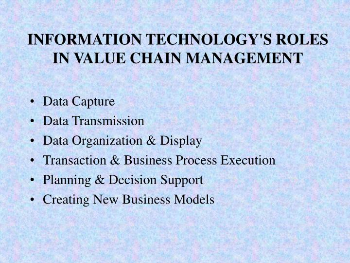 Information technology s roles in value chain management