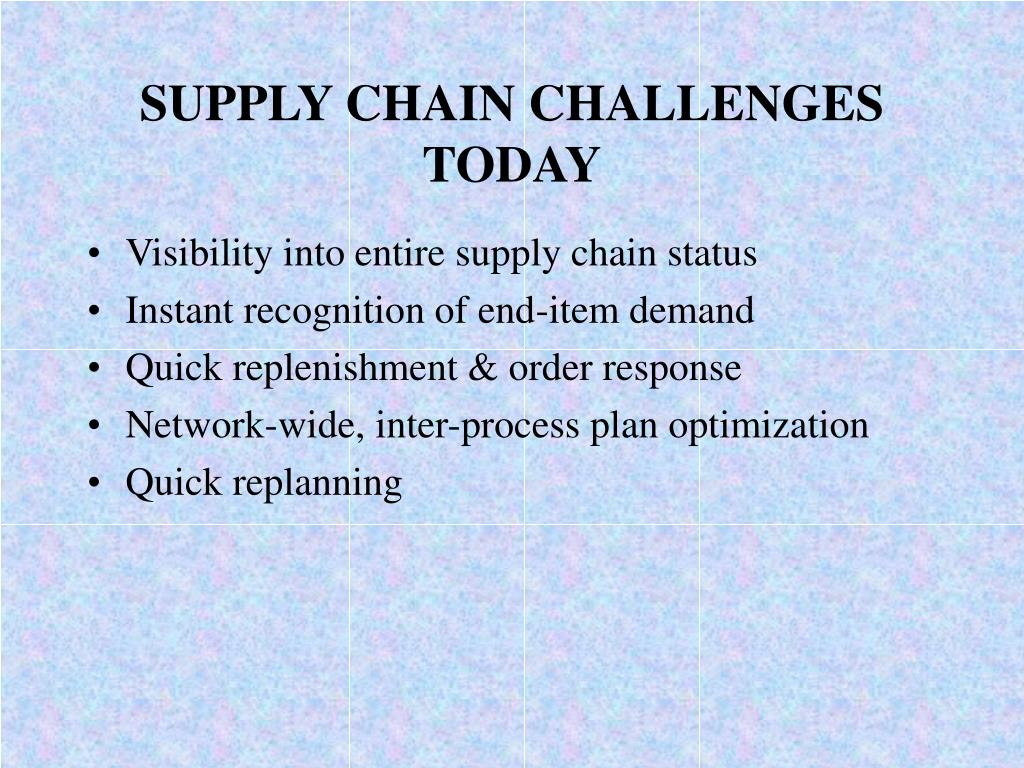 SUPPLY CHAIN CHALLENGES TODAY
