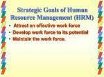strategic goals of human resource management hrm