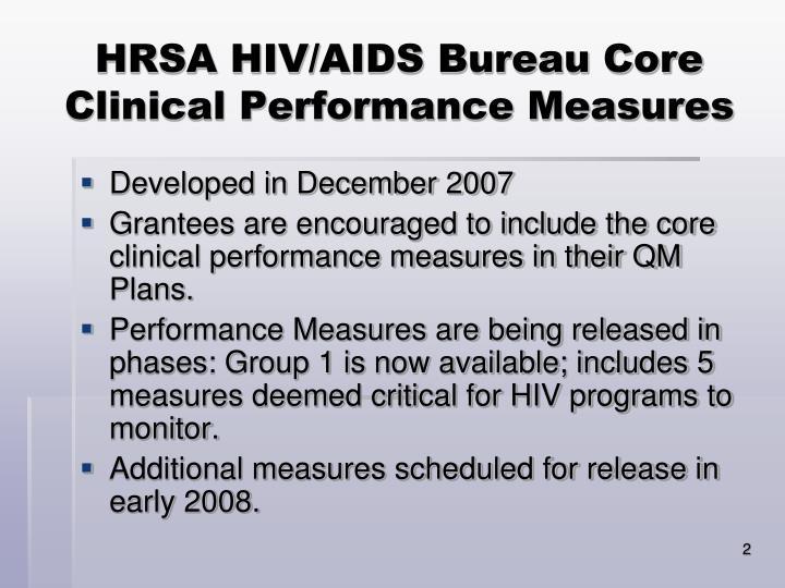 Hrsa hiv aids bureau core clinical performance measures