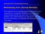 maintaining your journal worklist