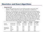 heuristics and exact algorithms50
